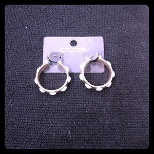 Chico's small gold hoop earrings with pearls